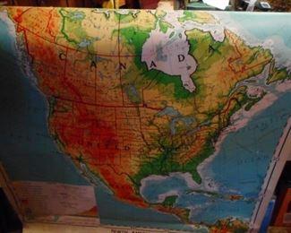 Vintage Regular Size Pull Down Map from 1967 Denoyer Geppert & Co Chicago