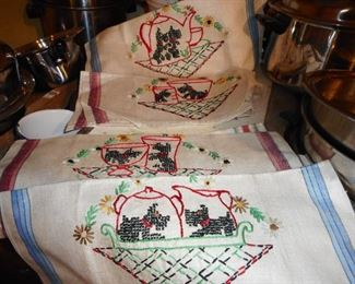 Vintage Hand Embroidered Set of Scottie Dogs on Linen Towels