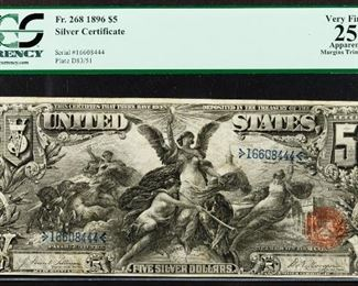 1896 5 Educational Silver Certificate VF 25 Details PCGS
