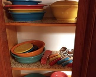 Fiestaware Set - Sold only as set - $1500 List of contents (* notates uncertainty about exact name)  1-Baking/Pizza Tray 2-Butter Tray 1-Rectangular Baker 1-Square Baker 4-Medium Oval Platter 5-Large Oval Platter 1-Pasta Bowl 3-Trivet 1-Spoon Rest 1-Small Covered Casserole* 2-Large Covered Casserole* 9-Dinner Plate 2-Bistro Salad Plate 5-Medium Bowl 2-Individual Casserole 1-Individual Casserole Large* 2-Oval Dish 9-Appetizer Plate 8-Bistro Buffet Plate 8-Fruit Bowl 4-Bouillon 4-Square Luncheon Plate 1-Sugar Packet Caddy 1-Large Disc Pitcher 1-Mini Disc Pitcher 2-Medium Heart Bowl 2-Gravy Boat* 1-Tall Vase* 2-Cup 1-Saucer 2-Kitchen Canister 4-Jumbo Cup 2-Small Bread Tray 4-Small Oval Platter 1-Salt and Pepper Set 8-Gusto Bowl 9-Rim Soup Bowl 1-Set of 4 7oz Glasses 1-Set of Insulated Cups* 5 Piece Bamboo Silicone Utensil Set 6 piece Utensil Set with Crock 3 Knife Set* 5 Piece Trivet Set 17 Piece Bake Set 5 Piece Metal/Ceramic Serving Utensils* Various Fiesta Towels