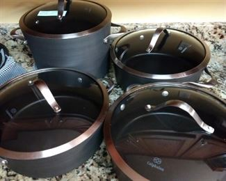"Selling large collection Calphalon baking ware. Over 20 pieces (not including lids). Well cared for, Much of which has never been used. Would cost $900+ to buy pieces new.  Ideally looking to sell the entire lot together, but can break down as follows.  $30 - Calphalon Unison 5Qt Dutch Oven (1 pan, 1 lid) $30 - Calphalon Contemporary 10"" & 12"" Fry Pan Set (2 pans, 1 lid) $85 - Calphalon Contemporary Pot Set (4 pots, 4 lids) $175 - Calphalon Premier Set (4 pots, 2 pans, 5 lids, 1 inset, 1 Colander) $50 - Large Pot Pair (2 pots, 2 lids, 1 inset) $30 - 2 Pan Set (2 pans, 1 lid)"