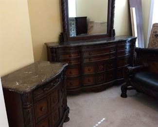 Ashley North Shore Bedroom Set - $2500 - Bedframe, Dresser Vanity, Dresser, Night Stand, Bench