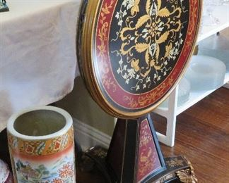 Tilt top table, Asian vase or umbrella stand