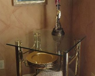 Brass and glass end table
