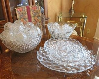 "Fostoria ""American"" glassware, punch sets"
