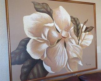 Vintage magnolia painting - signed Franco