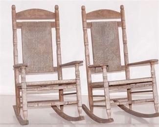 3. Pair of Rush Seat Rocking Chairs