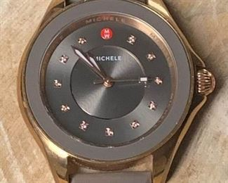 Michele Cape Topaz Brown Dial Silicone Band Rose Gold Ladies Watch https://ctbids.com/#!/description/share/271189
