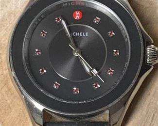 Michele Cape Stainless Steel Topaz Dial Black Strap Watch https://ctbids.com/#!/description/share/271190