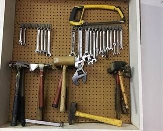 Pegboard of Assorted Hammers & Wrenches https://ctbids.com/#!/description/share/270375