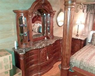 LADYS DRESSER WITH MARBLE TOP, DID I MENTION EVERYTHING YOU SEE, BEDDING CURTAINS ALL DESIGNED FOR THIS FURNITURE SET ALL GO WITH!