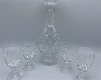 Waterford Crystal Decanter and Glasses