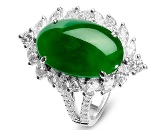 PIC81Imperial Green Jadeite Diamond Ring