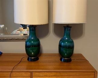 Mid century blue green lamps.  Beautiful!