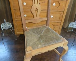 Pine Chippendale Chair Rush Seat