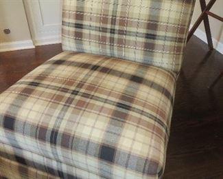 Brown Plaid Slipper Chair Ethan Allen