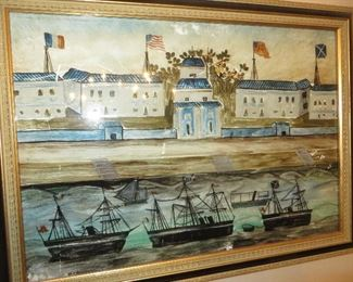 Reverse Glass Painting of Hongs at Canton Harbor