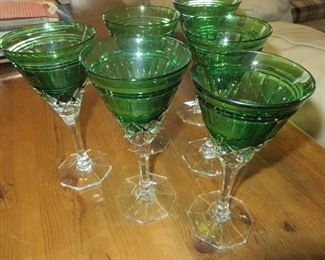 American Brilliant Sinclaire Cut to Clear Green Goblets (set of 6)