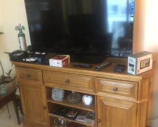 Solid Wood TV Stand and 50 inch TV