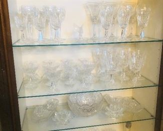 Crystal, cut glass bowls and glasses including Waterford