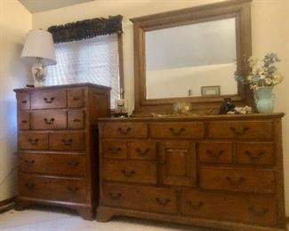 Matching Dresser and Mirror, Chest of Drawers, and Night Stand
