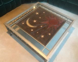 Metal Framed Coffee Table with Wood Center