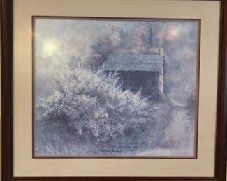 """""""Backwood Redbuds"""", 1987 Plate II, Series X  framed print by artist, Ben Hampton."""