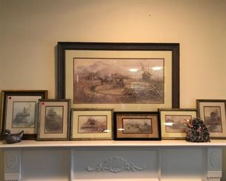 """""""Sorghum Mill"""", 1976 large framed print & 6 smaller framed prints by artist, Ben Hampton. On left is a pewter dish shaped like a duck & on the right is a small heart-shaped pinecone wreath."""