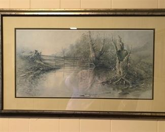 """""""Reflecting Sycamores"""", 1977 Plate II, Series IV framed print by artist, Ben Hampton."""