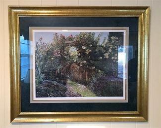 """Garden Archway"" signed & numbered (50/750) framed print by artist, Elaine Bradley."