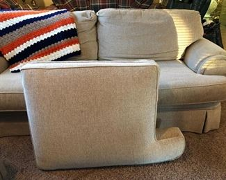 Broyhill brand beige couch w/ extra bottom cushion & a crocheted, striped afghan