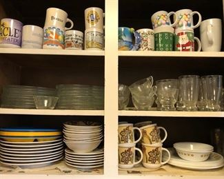 Several coffee cups, drinking glass sets, glass snack plates w/ matching cups, & dish set w/ matching cups.