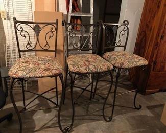 3 Metal barstools w/ tapestry seats