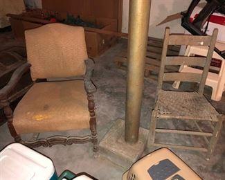 Antique wooden rocking chair & ladder back chair