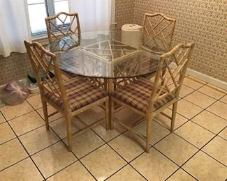 Glass Round Table and 4 Wood Chairs