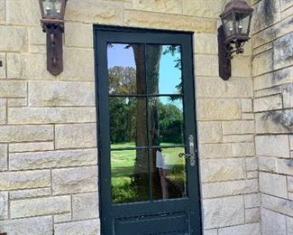 Six Lite Exterior Doors and Wall Mount French Outdoor Lanterns