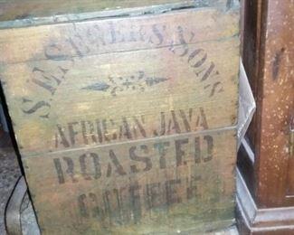 Primitive wood advertising Roasted Coffee Bin