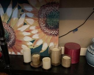 Candles and artwork