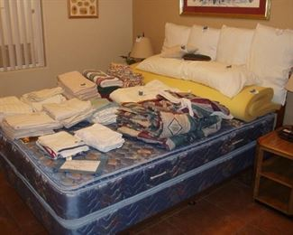 Queen Bed,  End Tables/Lamps, Topper, Pillows, Sheet Sets, & Towels