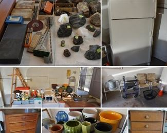 Garage items, including pottery, antique cabinets, tools, medical supplies, ladders and even a fridge!