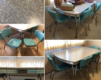 Amazing vintage Chrome and Formica kitchen table with four chairs