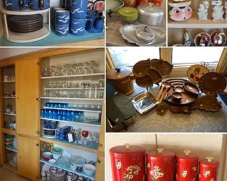 lots of vintage kitchen items and glassware!