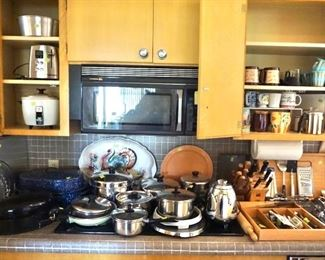Pots, pans, baking supplies, utensils, toaster, coffee mugs, cutlery, knife sets and more