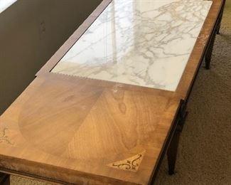 Walnut & Italian Marble coffee table