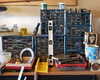 Assortment of bolts, screws and nails including organizers