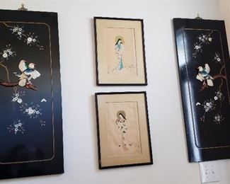Vintage Oriental/Japanese lacquered Wall Tiles