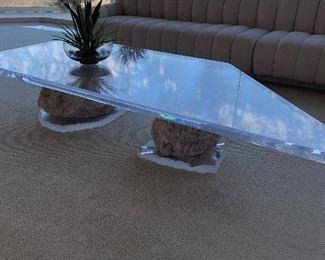 Massive chunk rose quartz and lucite coffee table