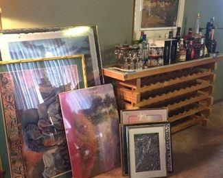 Misc framed art, wine rack