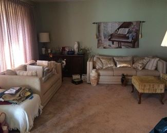 Misc items, sofa set and tapestry not for sale.