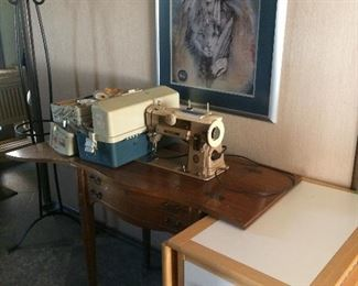 Singer 401 Sewing Machine and notions box full of items!  Crafts table, collapsible.  Coat rack.  Native American print.
